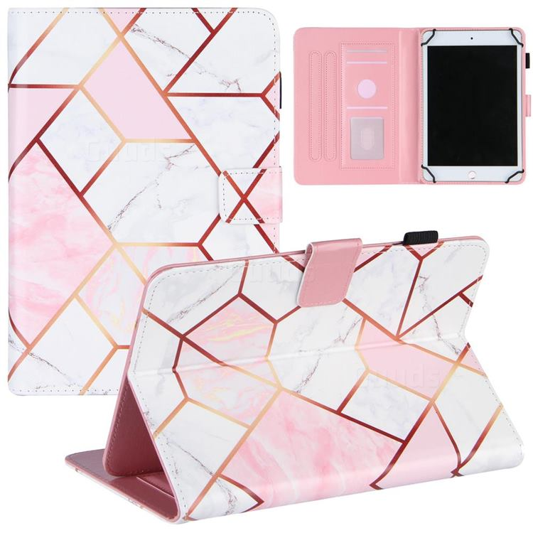 8 inch Universal Tablet Cover Pink White Stitching Color Marble Leather Flip Cover