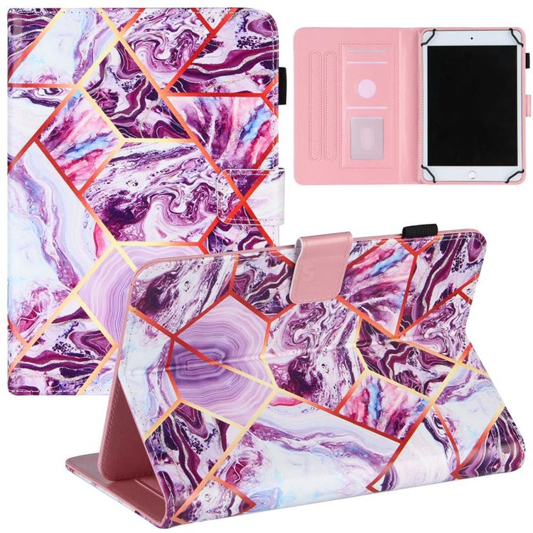 8 inch Universal Tablet Cover Dream Purple Stitching Color Marble Leather Flip Cover