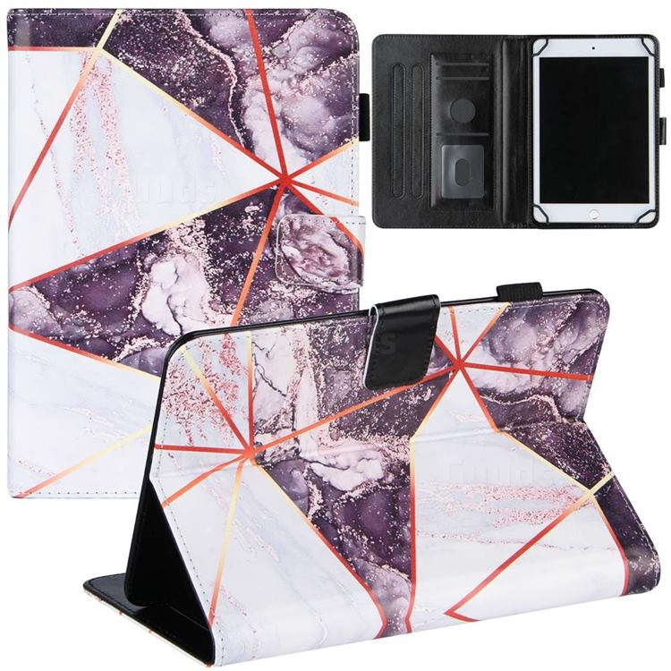 8 inch Universal Tablet Cover Black and White Stitching Color Marble Leather Flip Cover