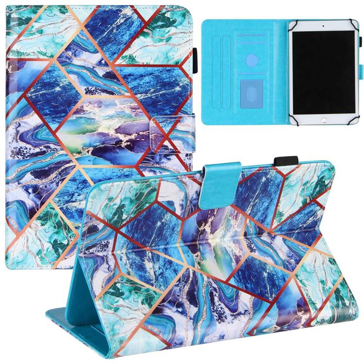 8 inch Universal Tablet Cover Green and Blue Stitching Color Marble Leather Flip Cover