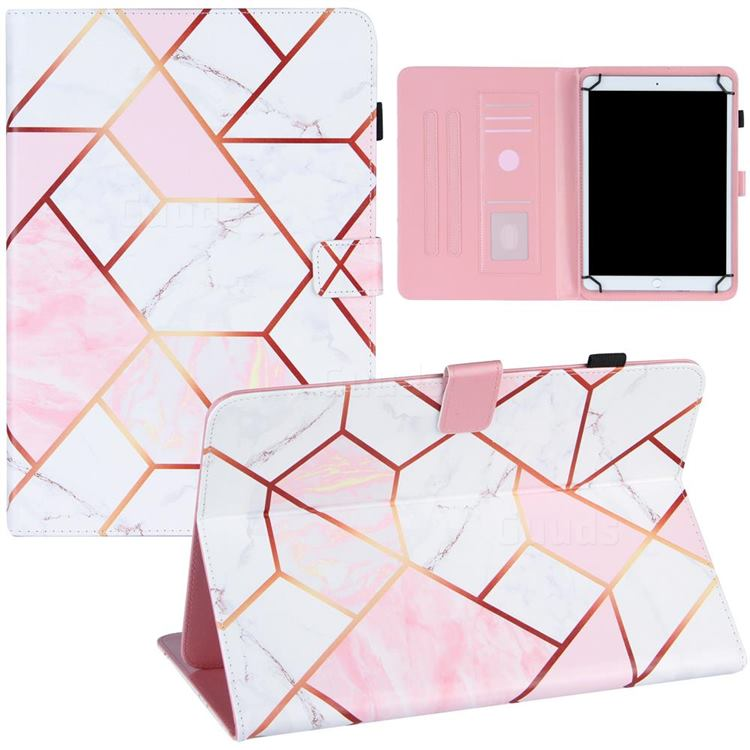 10 inch Universal Tablet Cover Pink White Stitching Color Marble Leather Flip Cover