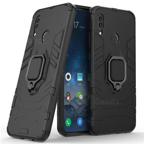 Black Panther Armor Metal Ring Grip Shockproof Dual Layer Rugged Hard Cover for Huawei P Smart (2019) - Black