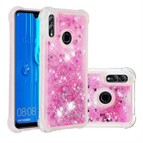 Dynamic Liquid Glitter Sand Quicksand TPU Case for Huawei P Smart (2019) - Pink Love Heart