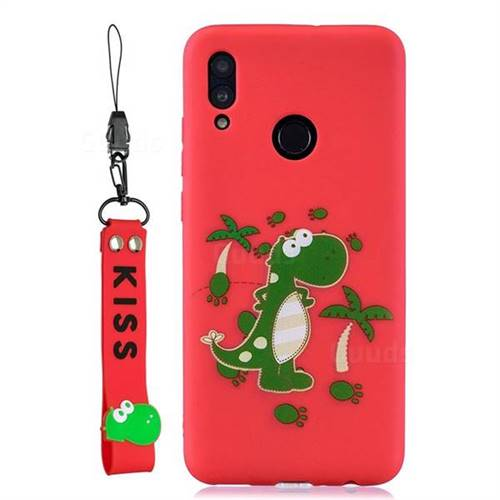 pretty nice fb197 cd572 Red Dinosaur Soft Kiss Candy Hand Strap Silicone Case for Huawei P Smart  (2019)
