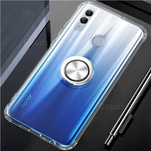 Anti-fall Invisible Press Bounce Ring Holder Phone Cover for Huawei P Smart (2019) - Transparent