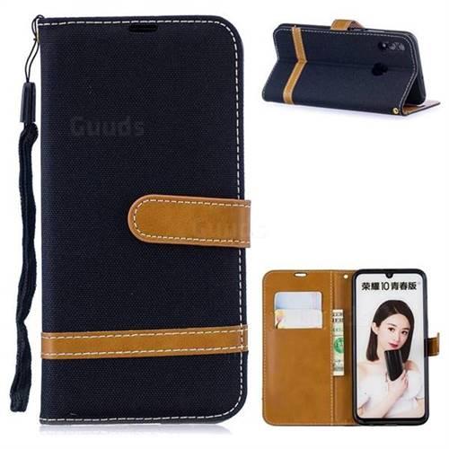Jeans Cowboy Denim Leather Wallet Case for Huawei P Smart (2019) - Black