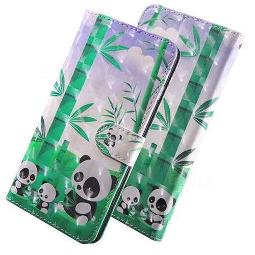 Eating Bamboo Pandas 3D Painted Leather Wallet Case for Huawei P Smart (2019)