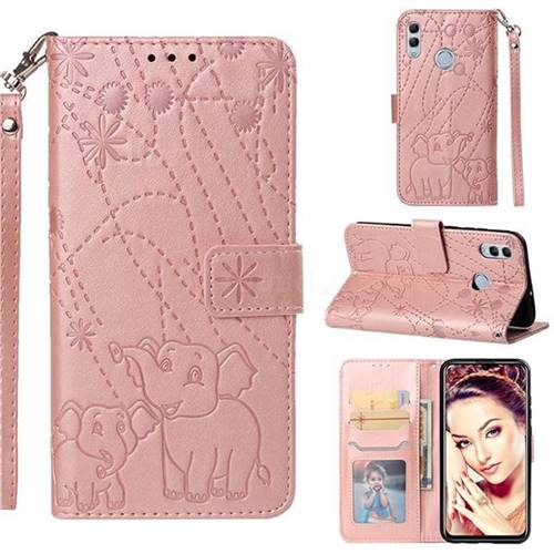 Embossing Fireworks Elephant Leather Wallet Case for Huawei P Smart (2019) - Rose Gold