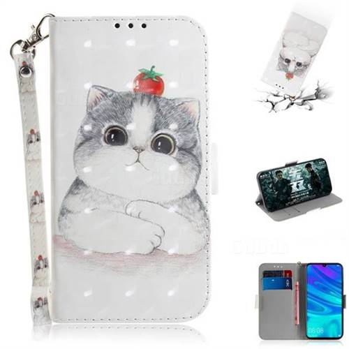 Cute Tomato Cat 3D Painted Leather Wallet Phone Case for Huawei P Smart (2019)
