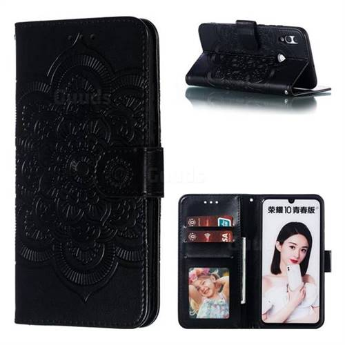 Intricate Embossing Datura Solar Leather Wallet Case for Huawei P Smart (2019) - Black