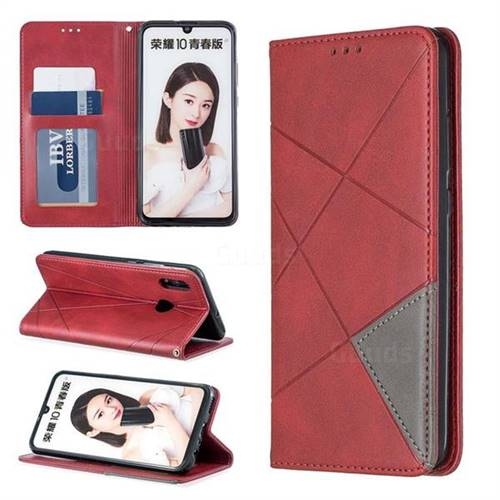 Prismatic Slim Magnetic Sucking Stitching Wallet Flip Cover for Huawei P Smart (2019) - Red