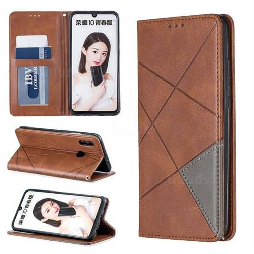 Prismatic Slim Magnetic Sucking Stitching Wallet Flip Cover for Huawei P Smart (2019) - Brown