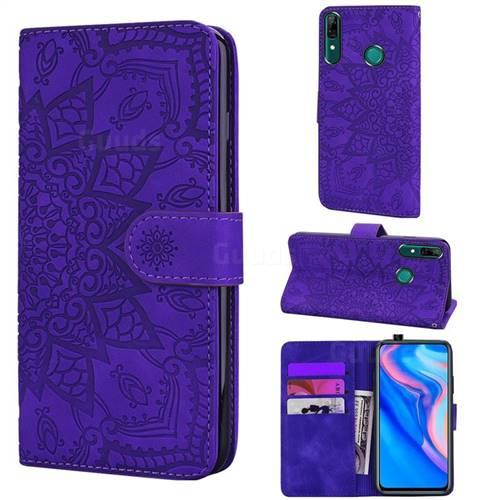 Retro Embossing Mandala Flower Leather Wallet Case for Huawei P Smart (2019) - Purple