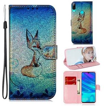 Cute Fox Laser Shining Leather Wallet Phone Case for Huawei P Smart (2019)