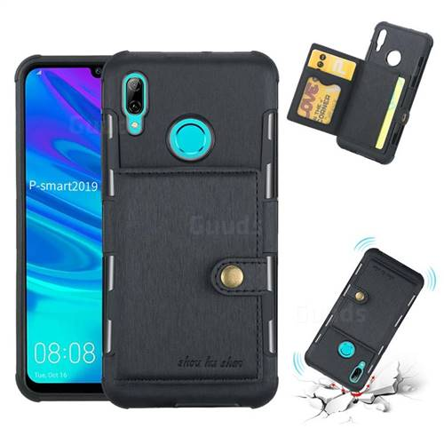 Brush Multi-function Leather Phone Case for Huawei P Smart (2019) - Black