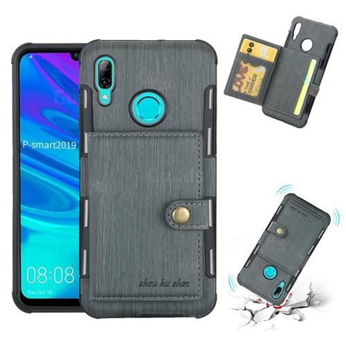 Brush Multi-function Leather Phone Case for Huawei P Smart (2019) - Gray