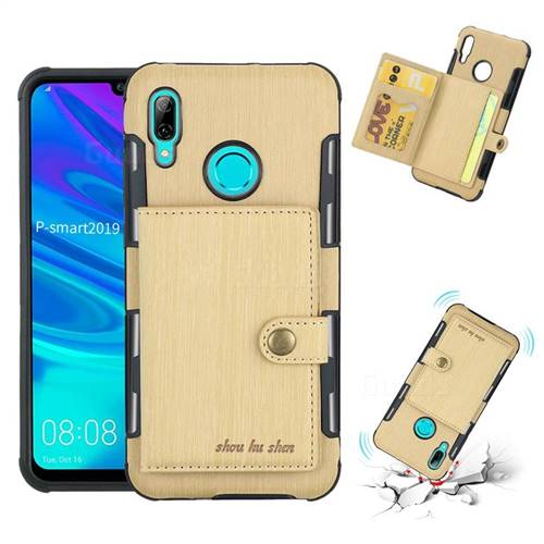 Brush Multi-function Leather Phone Case for Huawei P Smart (2019) - Golden