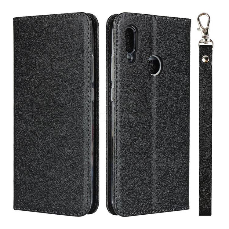 Ultra Slim Magnetic Automatic Suction Silk Lanyard Leather Flip Cover for Huawei P Smart (2019) - Black
