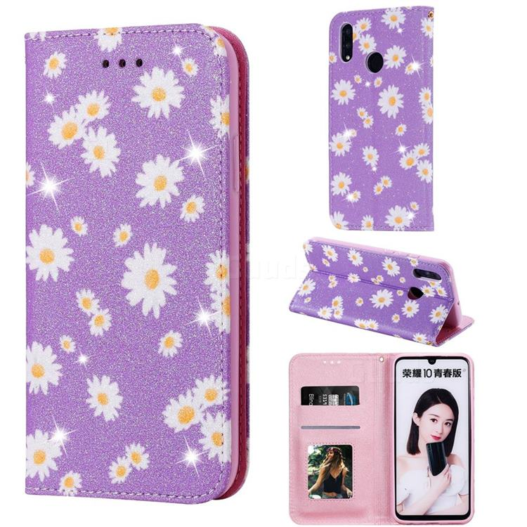 Ultra Slim Daisy Sparkle Glitter Powder Magnetic Leather Wallet Case for Huawei P Smart (2019) - Purple