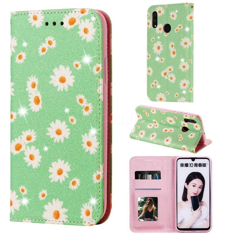 Ultra Slim Daisy Sparkle Glitter Powder Magnetic Leather Wallet Case for Huawei P Smart (2019) - Green
