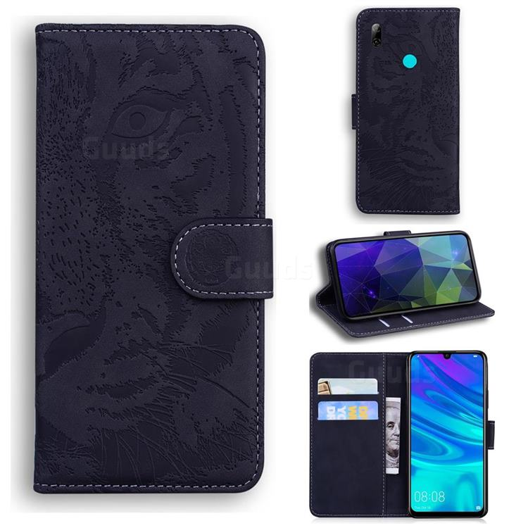Intricate Embossing Tiger Face Leather Wallet Case for Huawei P Smart (2019) - Black