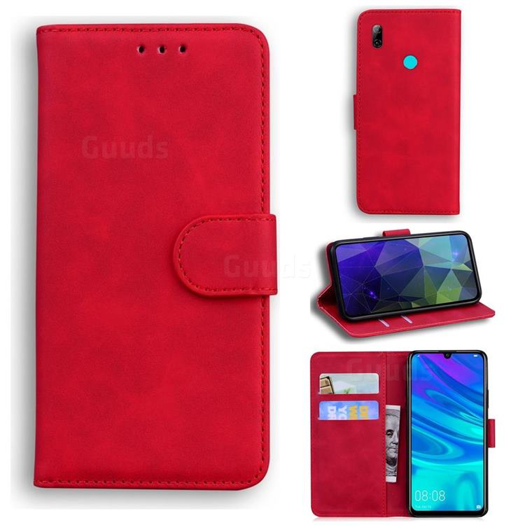 Retro Classic Skin Feel Leather Wallet Phone Case for Huawei P Smart (2019) - Red