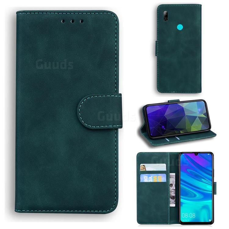 Retro Classic Skin Feel Leather Wallet Phone Case for Huawei P Smart (2019) - Green