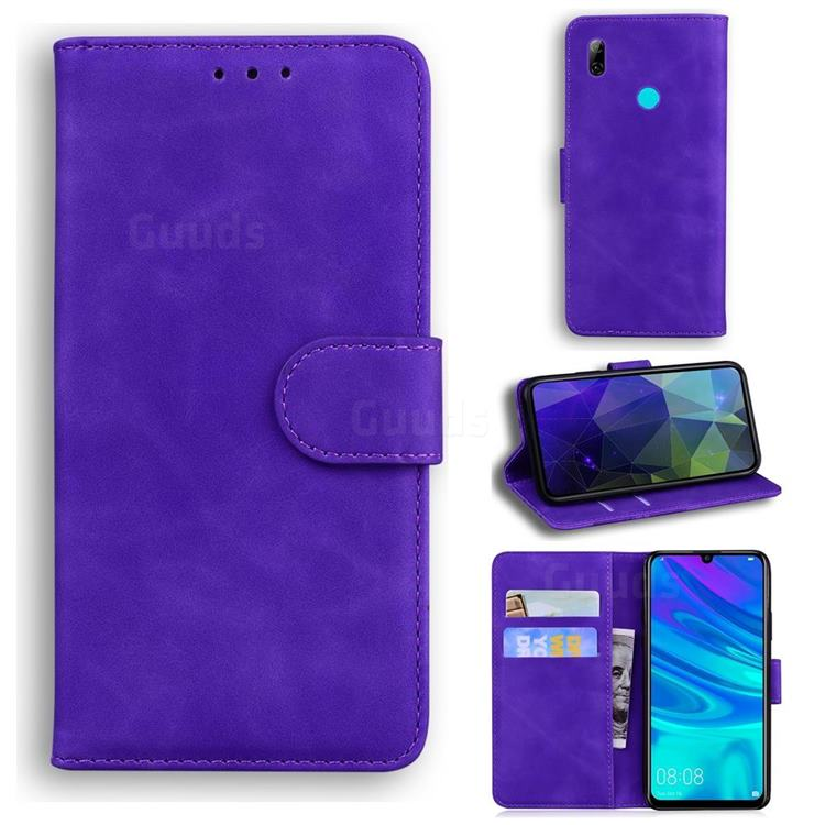 Retro Classic Skin Feel Leather Wallet Phone Case for Huawei P Smart (2019) - Purple