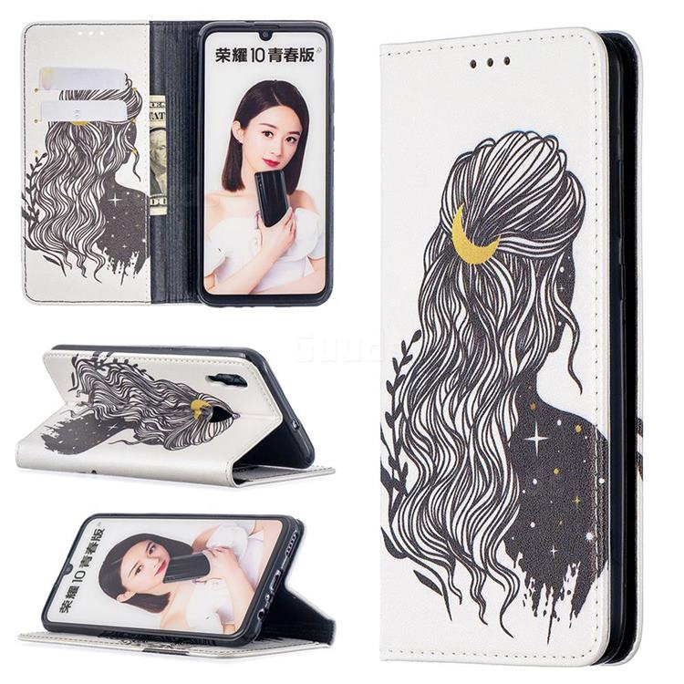 Girl with Long Hair Slim Magnetic Attraction Wallet Flip Cover for Huawei P Smart (2019)
