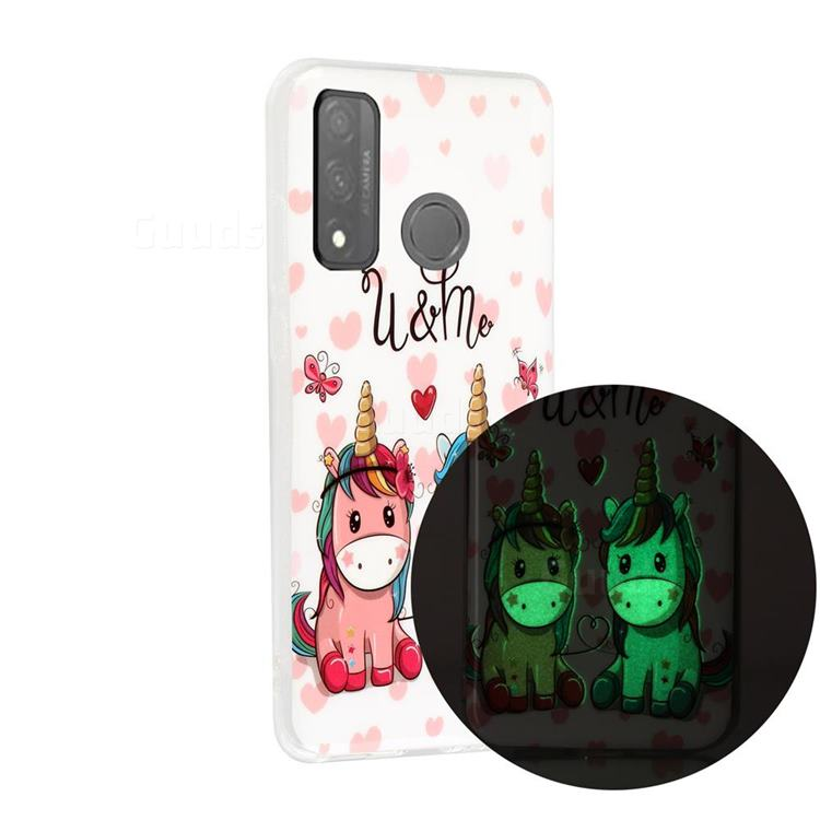Couple Unicorn Noctilucent Soft TPU Back Cover for Huawei P Smart (2020)