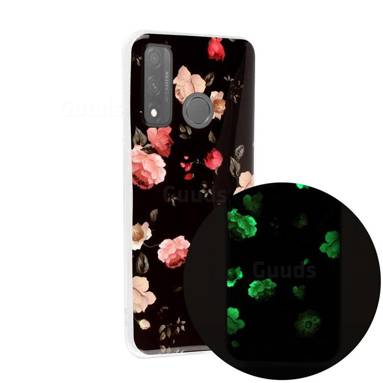 Rose Flower Noctilucent Soft TPU Back Cover for Huawei P Smart (2020)