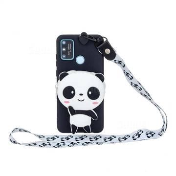 White Panda Neck Lanyard Zipper Wallet Silicone Case for Huawei P Smart (2020)
