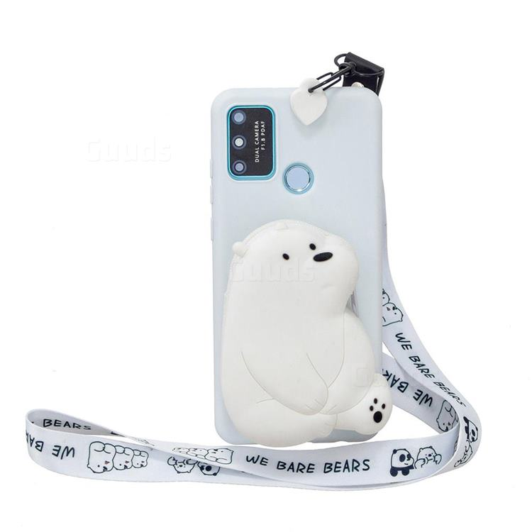 White Polar Bear Neck Lanyard Zipper Wallet Silicone Case for Huawei P Smart (2020)