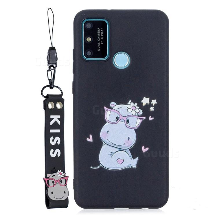 Black Flower Hippo Soft Kiss Candy Hand Strap Silicone Case for Huawei P Smart (2020)