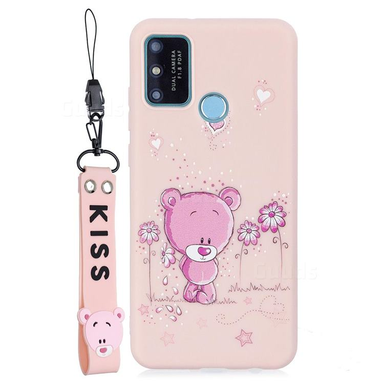 Pink Flower Bear Soft Kiss Candy Hand Strap Silicone Case for Huawei P Smart (2020)