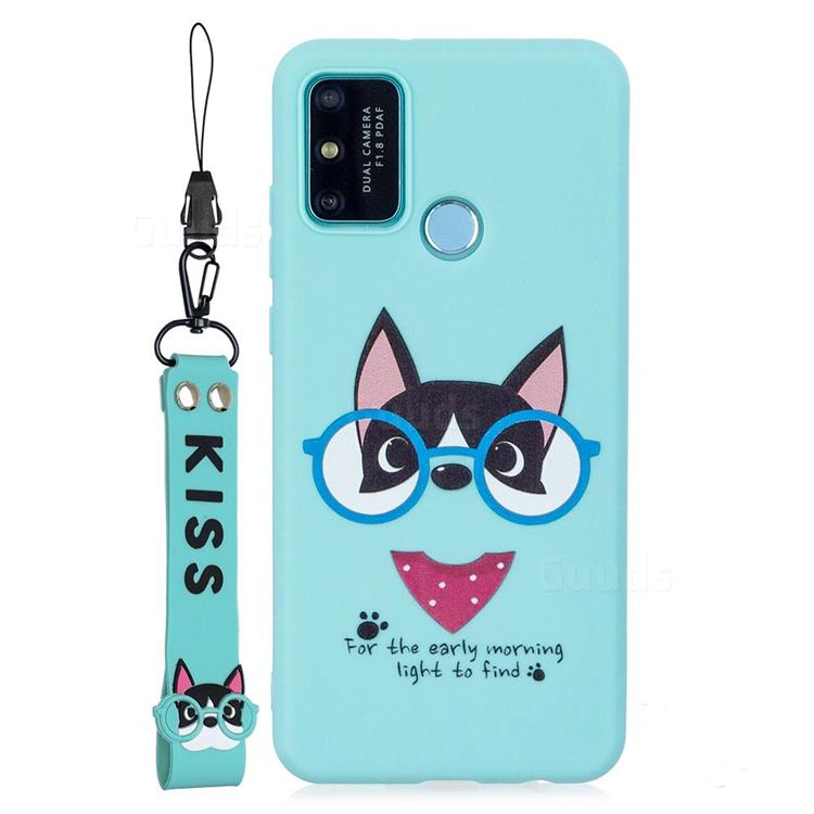 Green Glasses Dog Soft Kiss Candy Hand Strap Silicone Case for Huawei P Smart (2020)