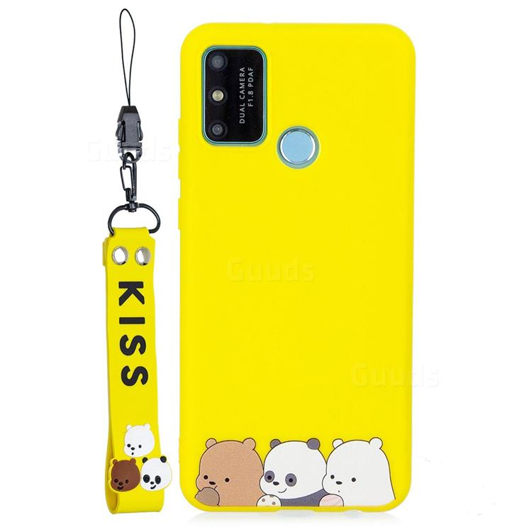 Yellow Bear Family Soft Kiss Candy Hand Strap Silicone Case for Huawei P Smart (2020)