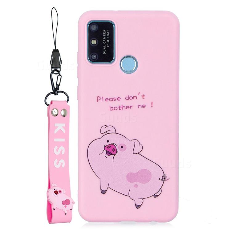 Pink Cute Pig Soft Kiss Candy Hand Strap Silicone Case for Huawei P Smart (2020)