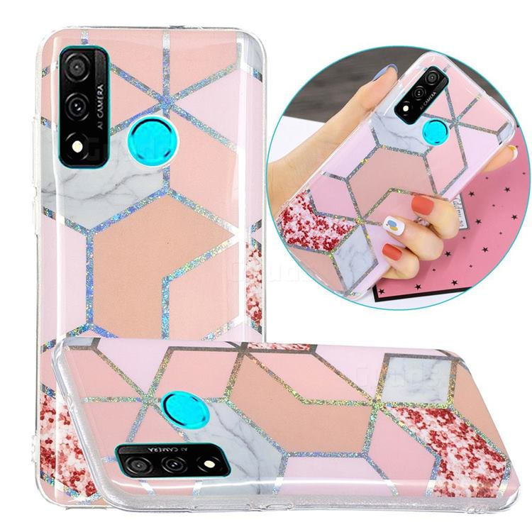 Pink Marble Painted Galvanized Electroplating Soft Phone Case Cover for Huawei P Smart (2020)