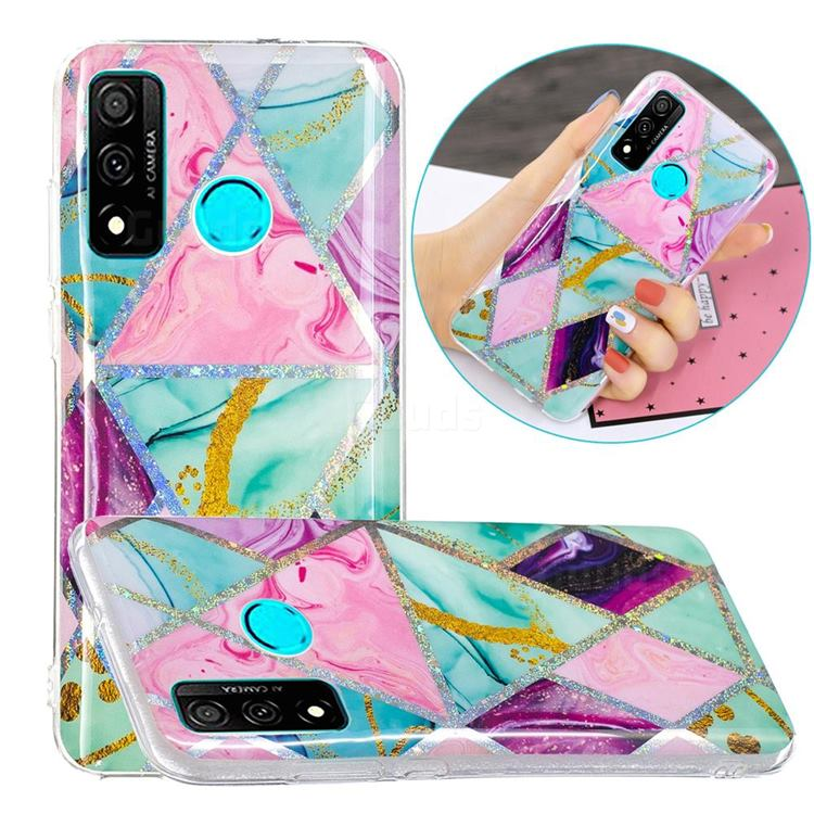 Triangular Marble Painted Galvanized Electroplating Soft Phone Case Cover for Huawei P Smart (2020)