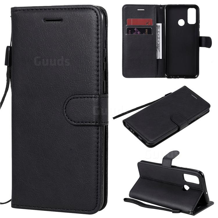 Retro Greek Classic Smooth PU Leather Wallet Phone Case for Huawei P Smart (2020) - Black