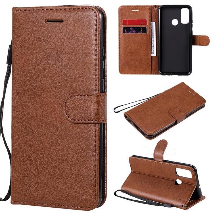 Retro Greek Classic Smooth PU Leather Wallet Phone Case for Huawei P Smart (2020) - Brown