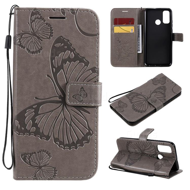 Embossing 3D Butterfly Leather Wallet Case for Huawei P Smart (2020) - Gray