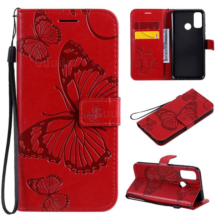 Embossing 3D Butterfly Leather Wallet Case for Huawei P Smart (2020) - Red
