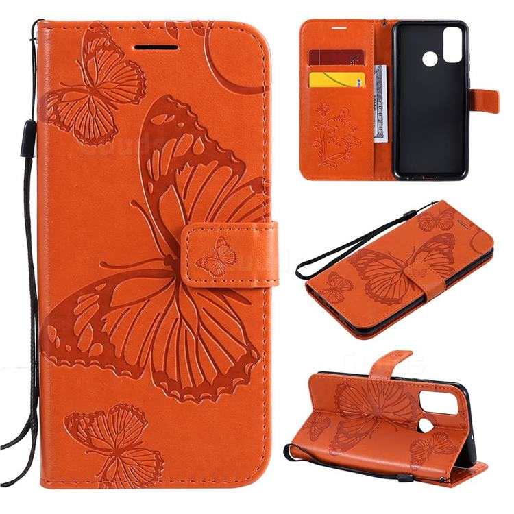 Embossing 3D Butterfly Leather Wallet Case for Huawei P Smart (2020) - Orange