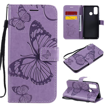 Embossing 3D Butterfly Leather Wallet Case for Huawei P Smart (2020) - Purple