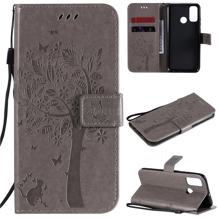 Embossing Butterfly Tree Leather Wallet Case for Huawei P Smart (2020) - Grey