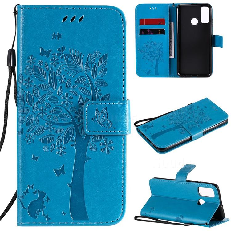 Embossing Butterfly Tree Leather Wallet Case for Huawei P Smart (2020) - Blue