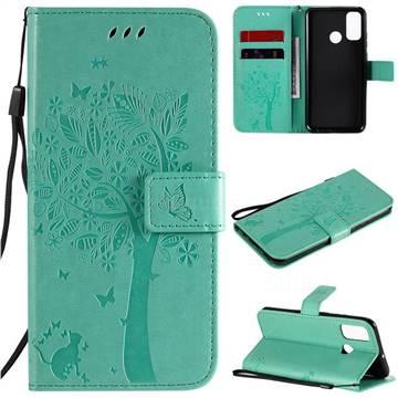 Embossing Butterfly Tree Leather Wallet Case for Huawei P Smart (2020) - Cyan