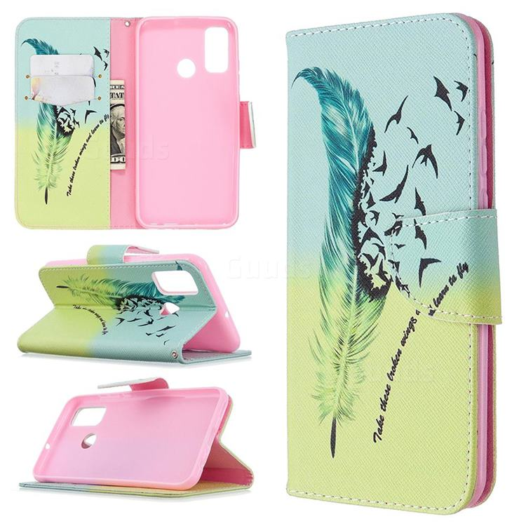 Feather Bird Leather Wallet Case for Huawei P Smart (2020)